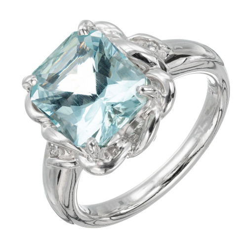 2.97 Carat Aquamarine Diamond Platinum Ring