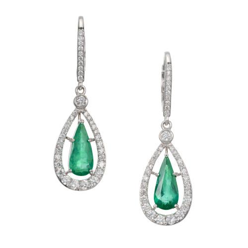 Peter Suchy GIA Certified 2.23 Carat Emerald Diamond White Gold Dangle Earrings