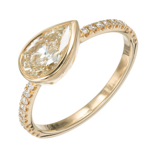 Peter Suchy GIA Certified 1.01 Carat Yellow Pear Diamond Gold Engagement Ring