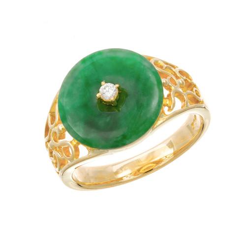 GIA Certified Jadeite Jade Diamond Yellow Gold Ring