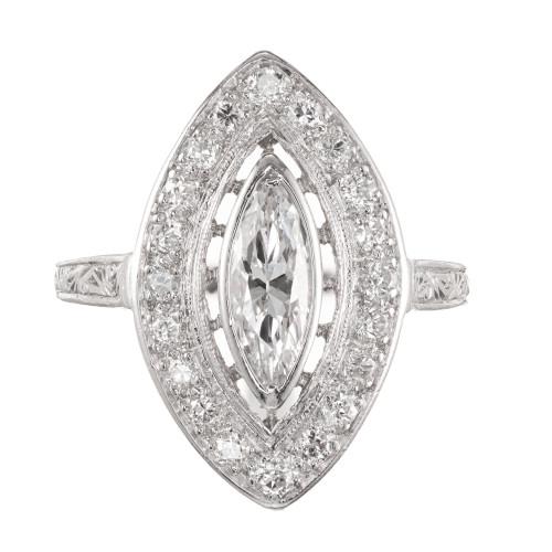 EGL Certified .80 Carat Marquise Diamond Platinum Halo Cocktail Ring