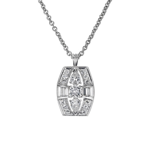 1.30 Carat Diamond Platinum Retro Style Pendant Necklace