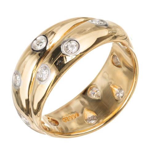 Tiffany Etoile Criss Cross .31ct Diamond 18k Yellow Gold Ring Size 5 3/4