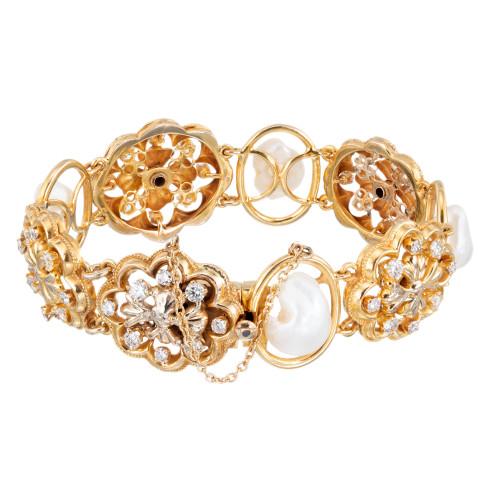 1.85 Carat Diamond Freshwater Pearl Victorian Revival Yellow Gold Bracelet