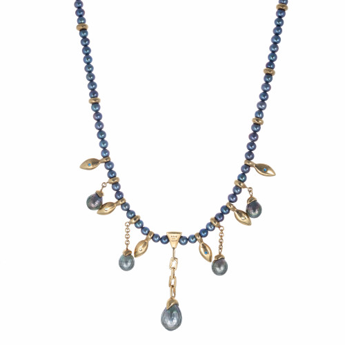 Robin Rotenier 2.40 Carat Sapphire Black South Sea Pearl Yellow Gold Necklace