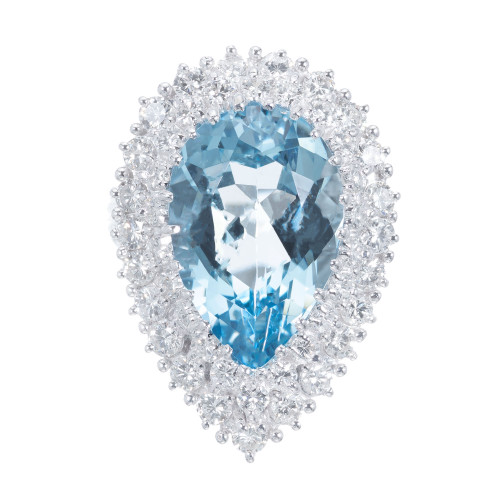 6.75 Carat Pear Aquamarine Diamond White Gold Cocktail Ring