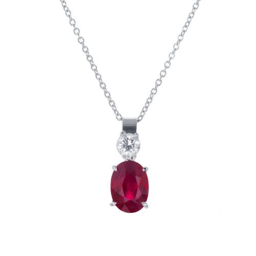 Peter Suchy GIA Certified 2.21 Carat Ruby Diamond Platinum Pendant Necklace