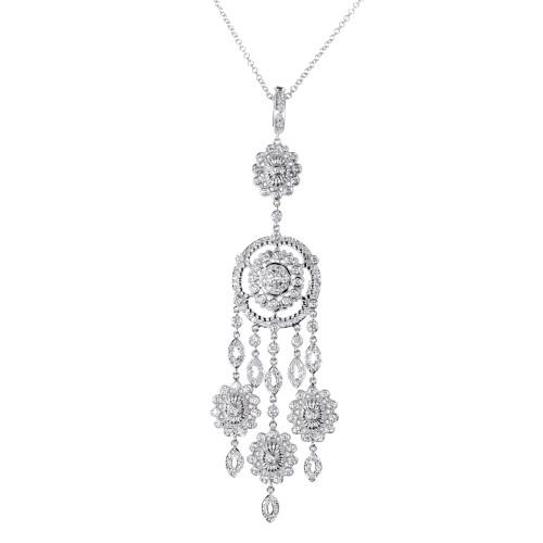 Doris Panos 3.60 Carat Diamond White Gold Anastasia Diva Pendant Necklace