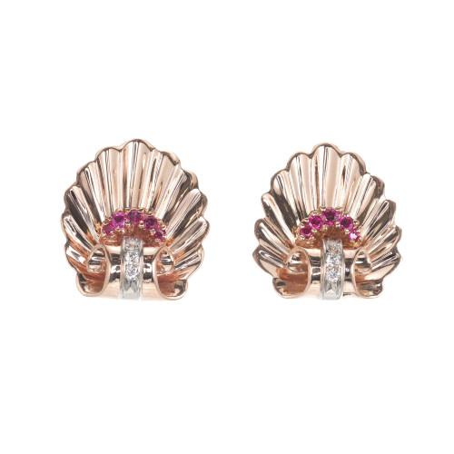 .20 Carat Ruby Diamond Rose White Gold Shell Earrings