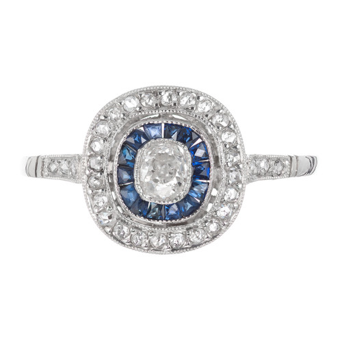 .20 Carat Diamond Blue Sapphire Platinum Engagement Ring