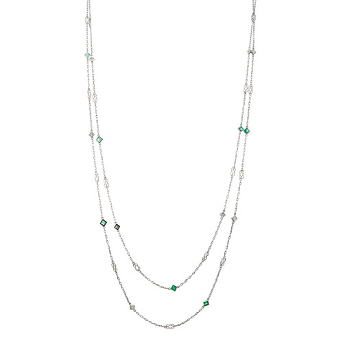 1.30 Carat Emerald Diamond Platinum Diamond By The Yard Necklace