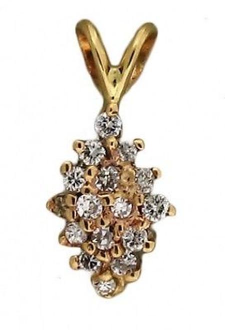 Estate 17 Round Full Cut Diamond 14k White Yellow Gold Domed Star Burst Pendant