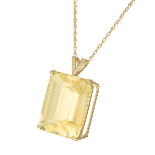 49.79 Carat Citrine Yellow Gold Pendant Necklace