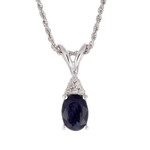 GIA Certified 1.25 Carat Sapphire Diamond White Gold Pendant Necklace