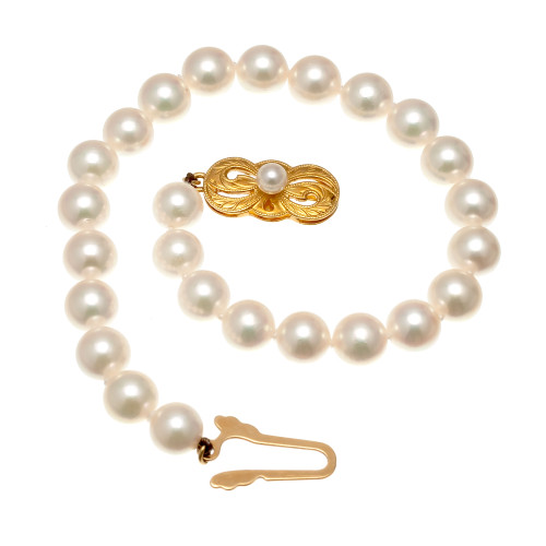 Mikimoto 18k Yellow Gold Cultured Pearl Bracelet