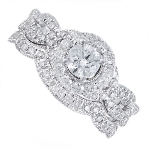 1.40 Carat Diamond White Gold Engagement Ring Wedding Band