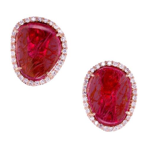 GIA Certified 9.00 Carat Purple Pink Sapphire Diamond Yellow Gold Earrings