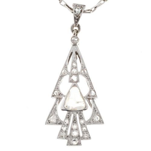 Estate 14k White Gold Rose Cut Diamond Pendant Paddle Arrowhead Christmas Tree