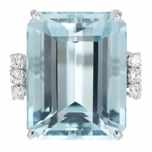 19.70 Carat Aquamarine Diamond Platinum Cocktail Ring