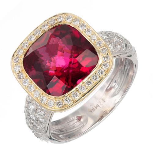 5.50 Carat Tourmaline Diamond Two-Tone Gold Cocktail Ring