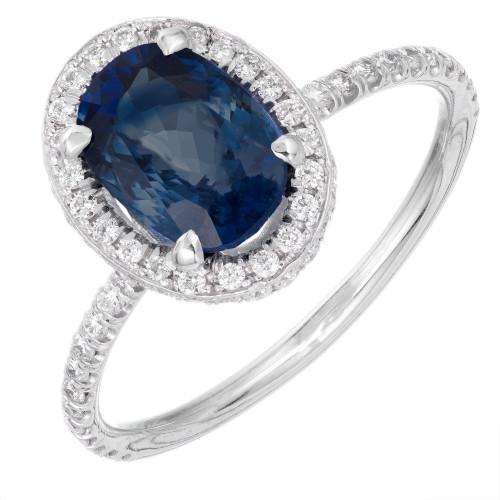 Peter Suchy GIA Certified 2.02ct Sapphire Diamond Platinum Engagement Ring