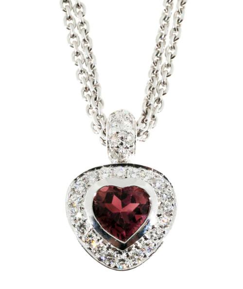 Estate 14k White Gold Pink Tourmaline and Pave Diamond Heart Pendant