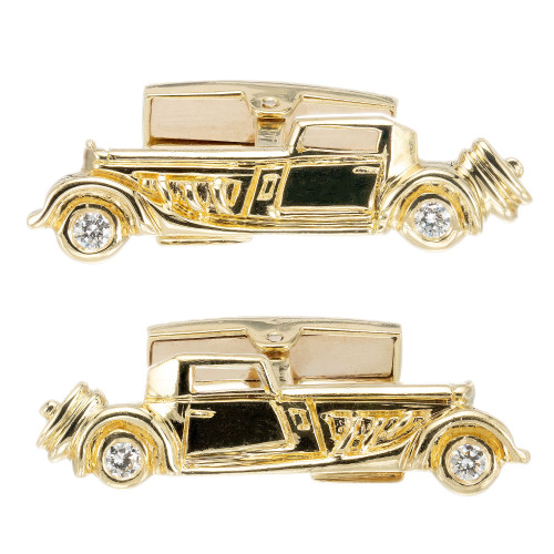 .25 Carat Diamond Yellow Gold Roadster Car Cufflinks