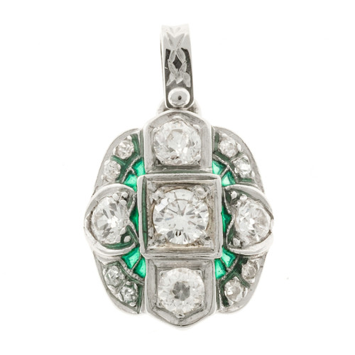 Estate 1930'S Art Deco Platinum Old European Cut Diamond Green Enamel Pendant