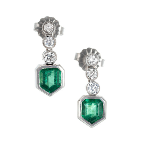 GIA Certified 1.08 Carat Emerald Diamond Platinum Dangle Earrings