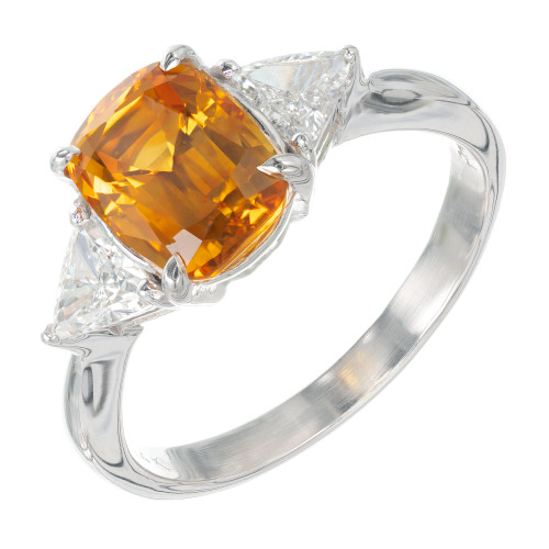 GIA Certified 3.08 Carat Sapphire Diamond White Gold Three-Stone Engagement Ring