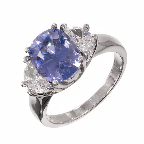 Peter Suchy 4.51 Carat Sapphire Diamond Platinum Three-Stone Engagement Ring