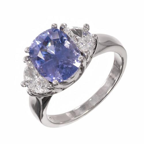 Peter Suchy 4.51 Carat Sapphire Diamond Platinum Three-Stone Engagement Ring