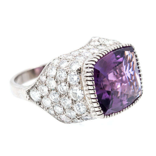 3.85 Carat Amethyst Diamond Gold Dome Cocktail Ring
