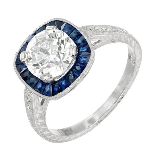 Peter Suchy GIA Certified 1.50 Carat Diamond Sapphire Platinum Engagement Ring