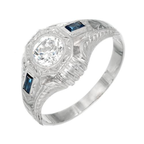 EGL Certified .84 Carat Diamond Sapphire White Gold Men's Ring