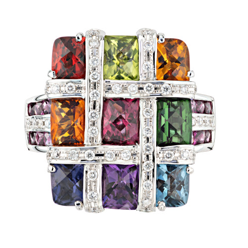 Bellari 4.94 Carat Multi-Color Gemstone Diamond White Gold Mosaic Cocktail Ring
