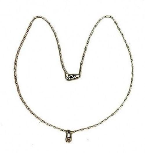 Estate 14k White Gold Twisted Wire 27 White Diamond Cube Pendant Chain 18 Inches