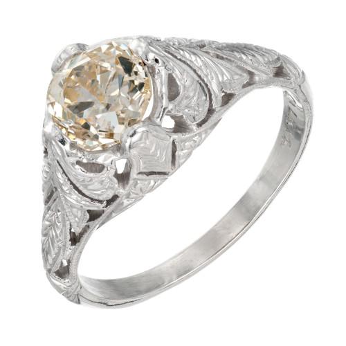 EGL Certified 1.13 Carat Yellow Brown Diamond White Gold Engagement Ring