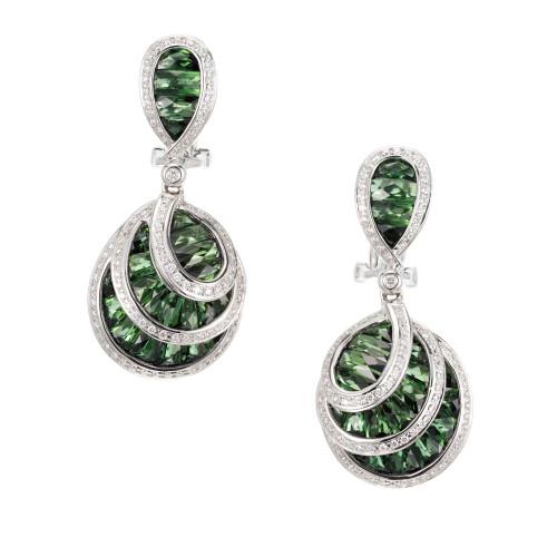 Bellari Le Bouquet 7.50 Carat Green Tourmaline Diamond Gold Dangle Earrings
