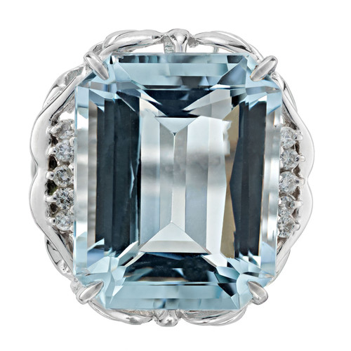 16.11 Carat Aquamarine Diamond Platinum Cocktail Ring
