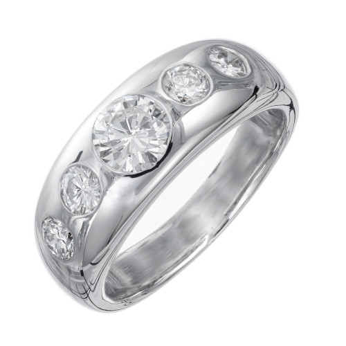1.04 Carat Round Diamond Platinum Gypsy Style Band Ring