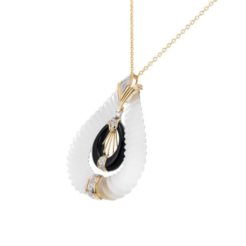 .40 Carat Diamond Quartz Onyx Yellow Gold Pendant Necklace
