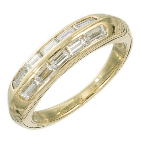 Jose Hess .75 Carat Diamond Yellow Gold Band Ring