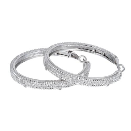 Judith Ripka .72 Carat Diamond White Gold Hoop Earrings
