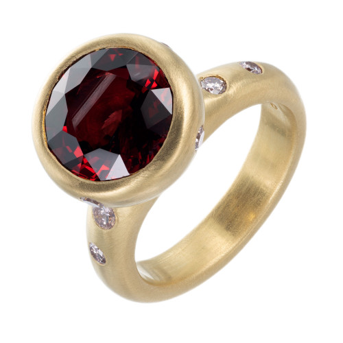 Robin Rotenier GIA Certified 4.64 Spinel Pink Diamond Yellow Gold Cocktail Ring