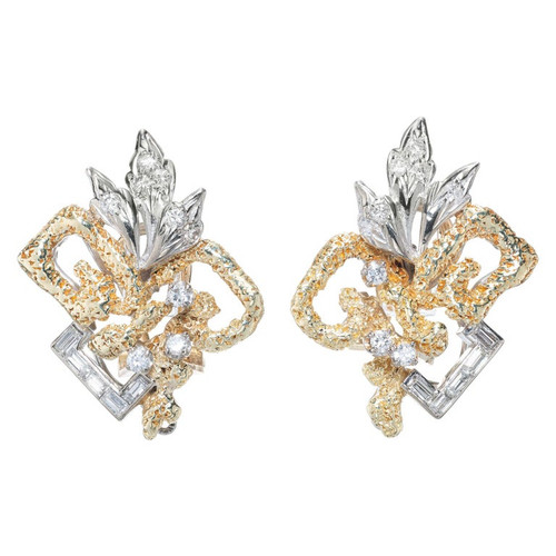 .62 Carat Diamond Yellow White Gold Clip Post Earrings