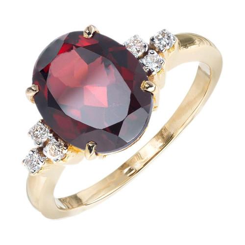 3.70 Carat Oval Garnet Diamond Yellow Gold Ring