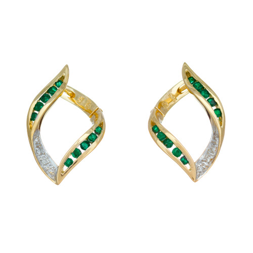 .36 Carat Emerald Diamond Yellow Gold Swirl Hoop Earrings