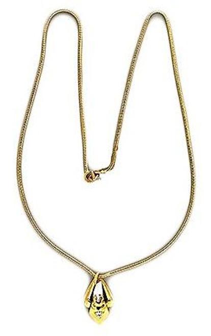 Estate 14k Yellow Gold Art Nouveau Style Fresh Water Pearl & Diamond Pendant