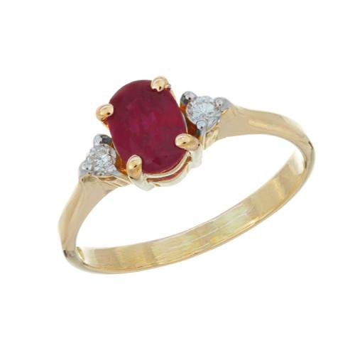 .51 Oval Ruby Diamond  Yellow Gold Three-Stone Engagement Ring